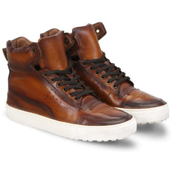 Tan High Ankle With Perforated Design Leather Sneakers By Bareskin