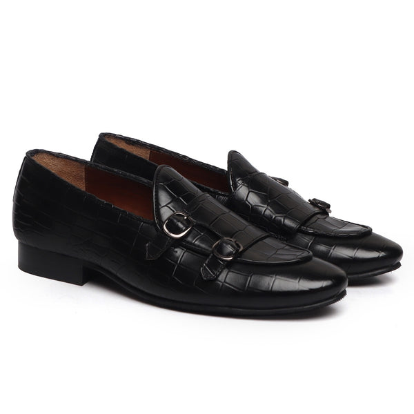 Black Double Monk Strap Deep Cut Leather Slip-On Leather By Brune & Bareskin