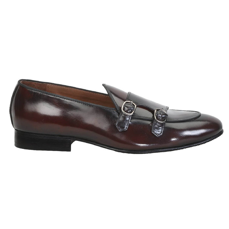 Wine Monk Strap Slip-On In Brush Off Leather By Brune