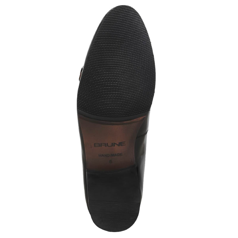 Black Monk Strap Slip-On In Brush Off Leather By Brune
