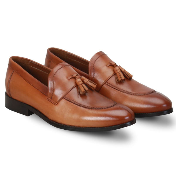 Tan Split Toe Tassel Leather Formal Loafers By Brune