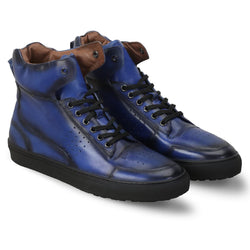 Blue Leather High-Top Black Lace And Sole Sneakers By Bareskin