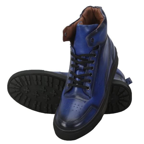 Blue Leather High-Top Black Lace And Sole Sneakers By Bar