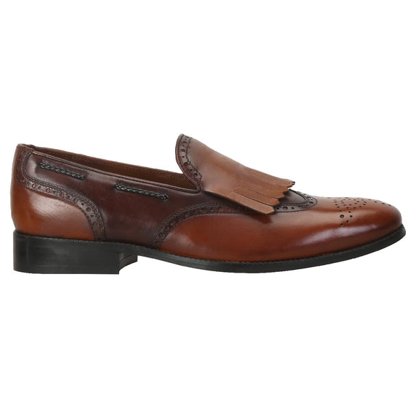 Dual Tone Brown/Tan Leather Fringes Design Formal Loafers With Wingtip Medallion Toe By Brune