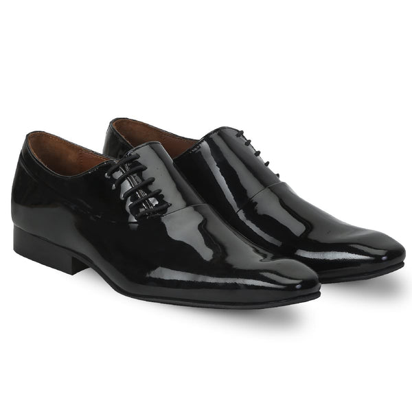 Shiny Black Patent Leather Side Lacing Men Oxford Shoes By Brune