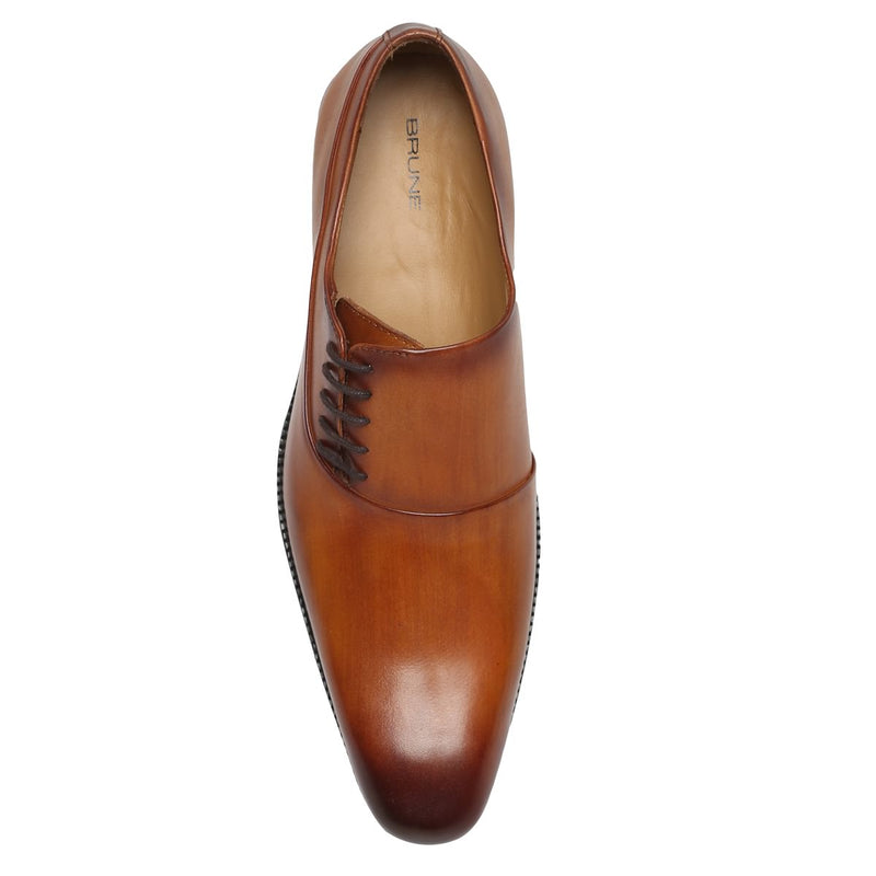 Tan Side Lace Squared Toe Leather Oxford Formal Shoes By Brune