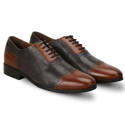 Tan/Grey Dual Tone Quarter Brogue Oxford By Brune