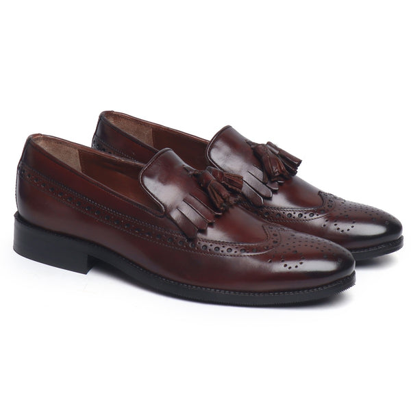 Brown Leather Formal Slip-On With Tassel And Fringes By Brune