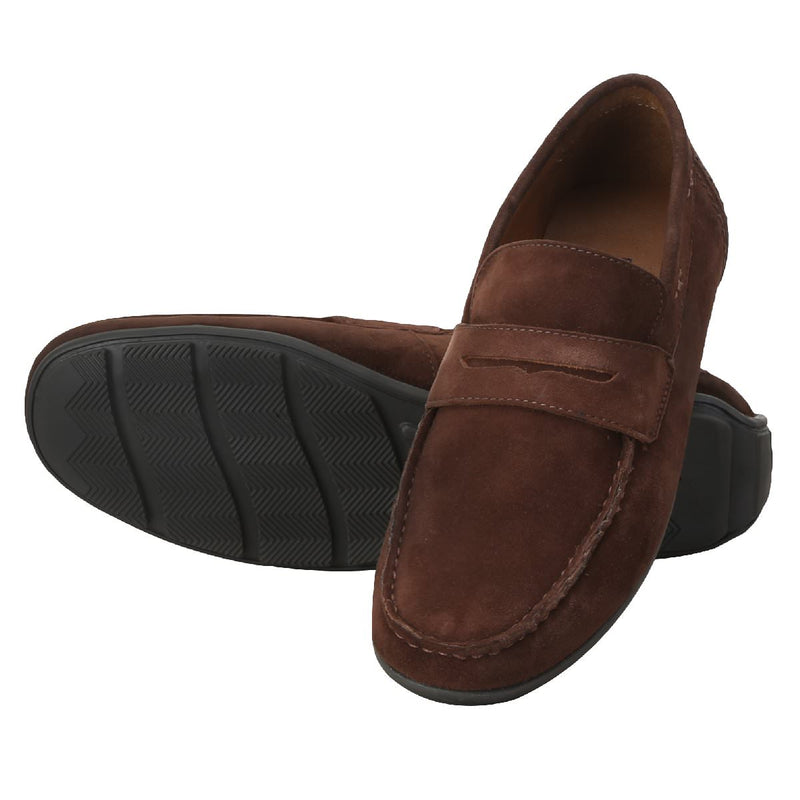 Brown Suede Leather Penny Loafers By Brune