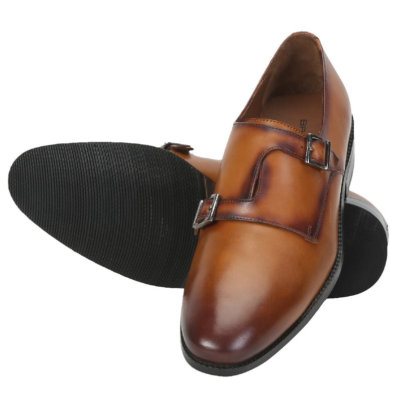 Tan Leather Cross Design Monk Strap Formal Shoes By Brune