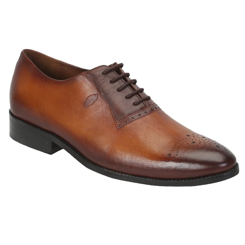 Tan/Brown Leather Oxford Shoes With Leaf Design And Medallion Toe By Brune