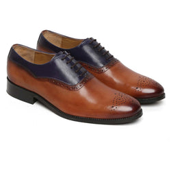 Tan/Blue Dual Tone Leather Lace Up Brogue For Men By Brune