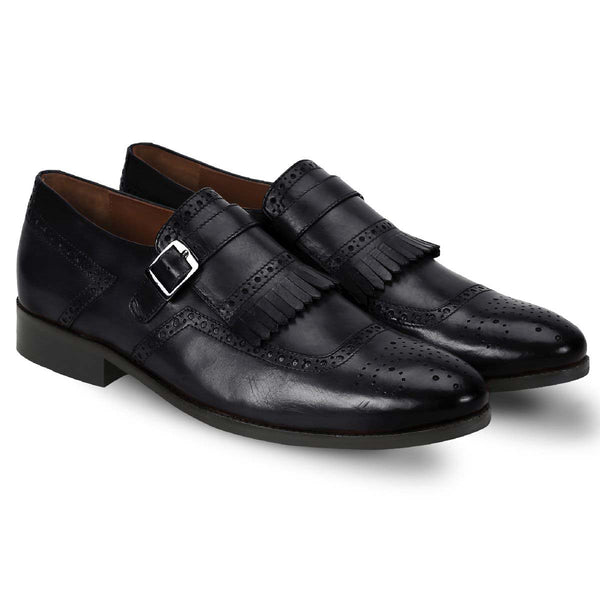 Brune Men Black Monk Strap Fringes Leather Formal Slip-On