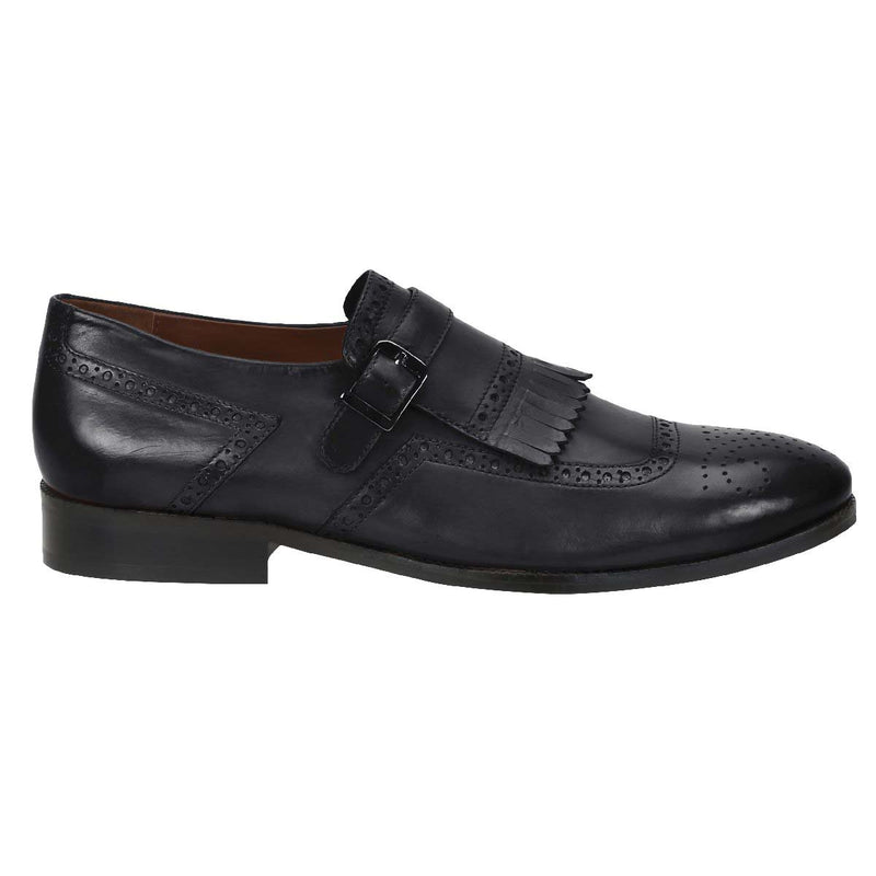 Black Leather Monk Strap With Fringes Design Formal Slip-On Shoes By Brune