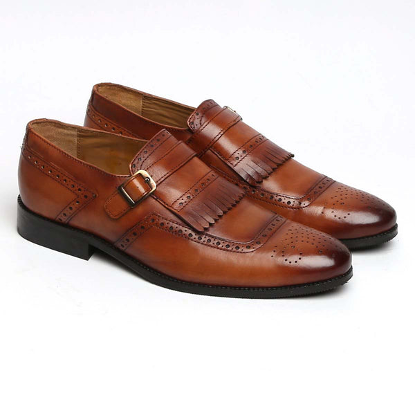 Tan Leather Monk Strap With Fringes Design Formal Slip-On Shoes By Brune