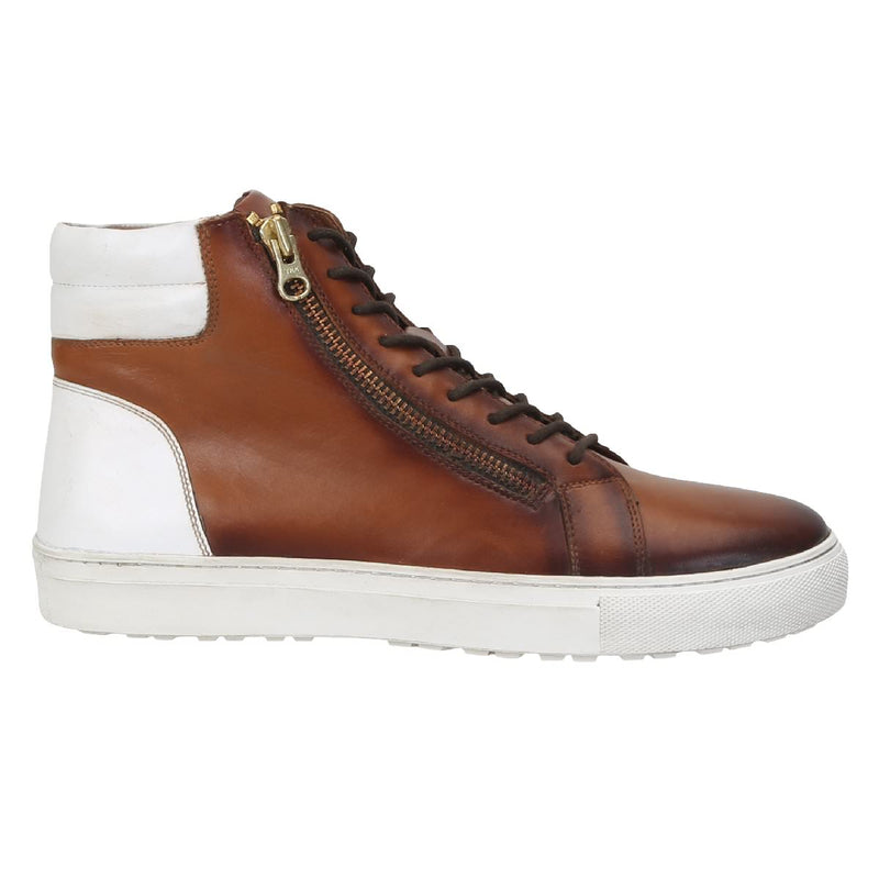 Tan/White Leather Sneakers With Stylish Side Zip By Bareskin