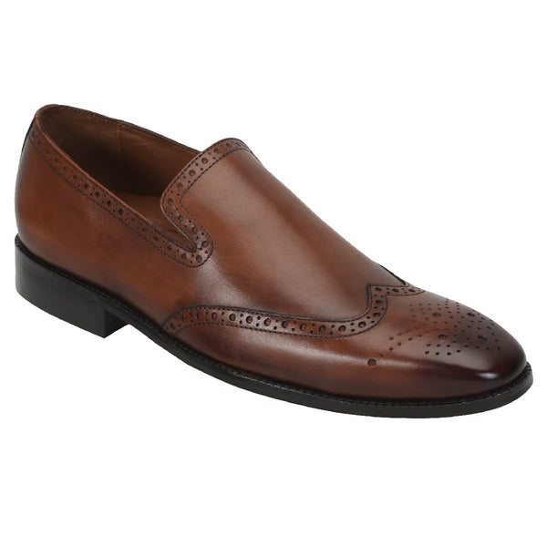 Brune Men Wingtip Medallion Toe Perforation Dark Tan Leather Loafers
