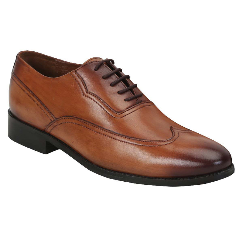 Brune Men Plain Long Tail Wingtip Tan Leather Lace Up Oxford