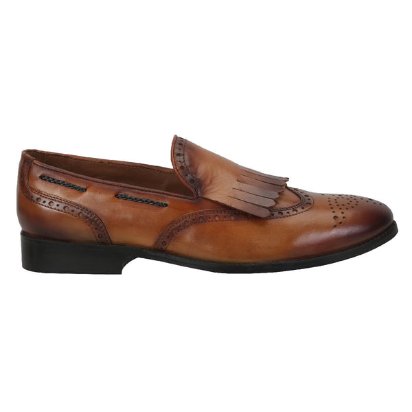 Brune Men Medallion Toe With Fringes Tan Leather Slip-On