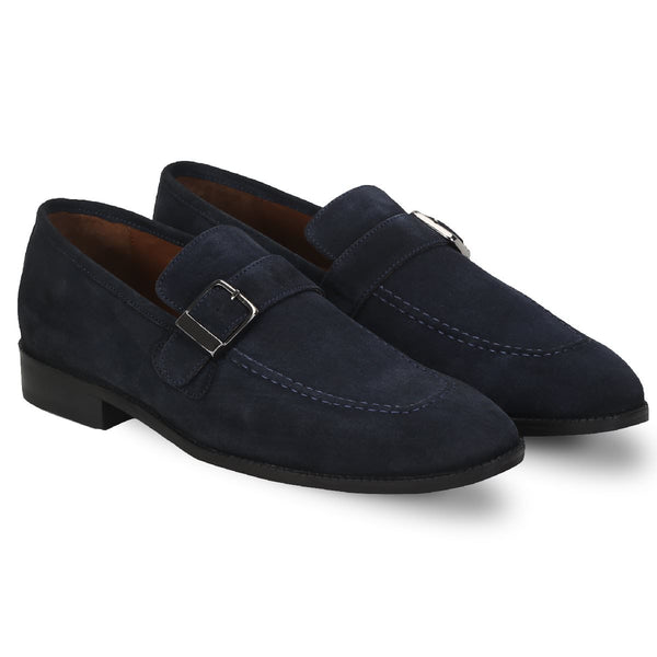 Brune Men Single Monk Strap Navy Suede Leather Shoes
