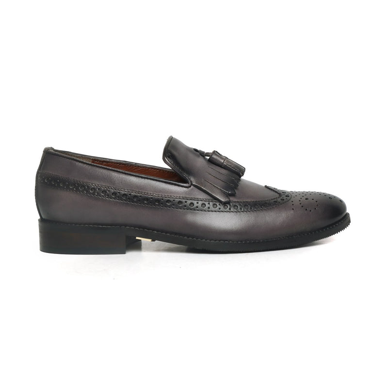 Grey Tassel With Fringes Long Tail Leather Men'S Formal Slip-On
