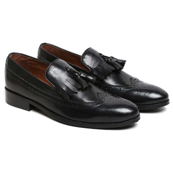 Black Tassel With Fringes Long Tail Leather Men'S Formal Slip-On