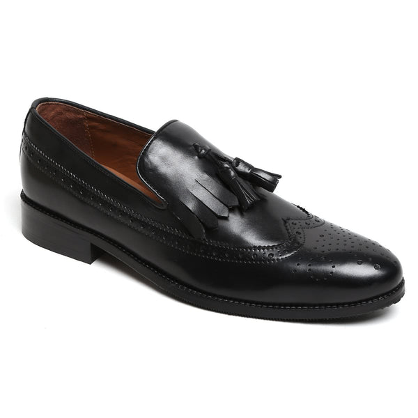 Brune Men'S Tassel With Fringes Long Tail Black Leather Formal Slip-On