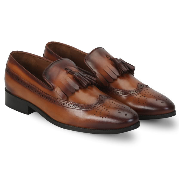 Brune Men'S Tassel With Fringes Long Tail Leather Formal Slip-On