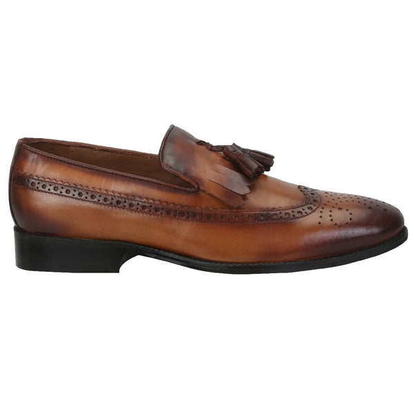 Tan Tassel With Fringes Long Tail Leather Men'S Formal Slip-On