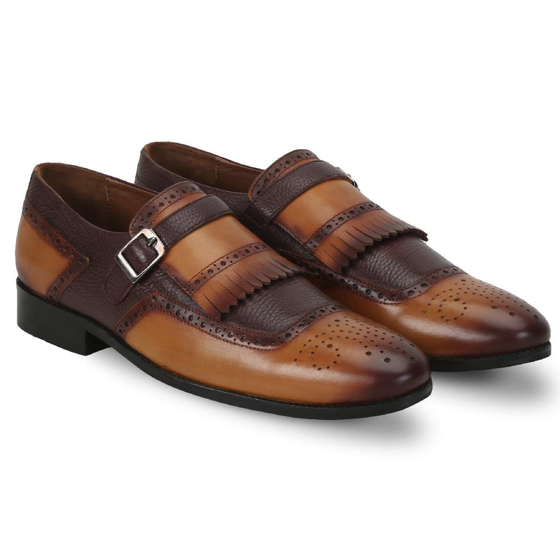 Brune Men Tan/Brown Monk Strap Fringes Leather Formal Slip-On Shoe