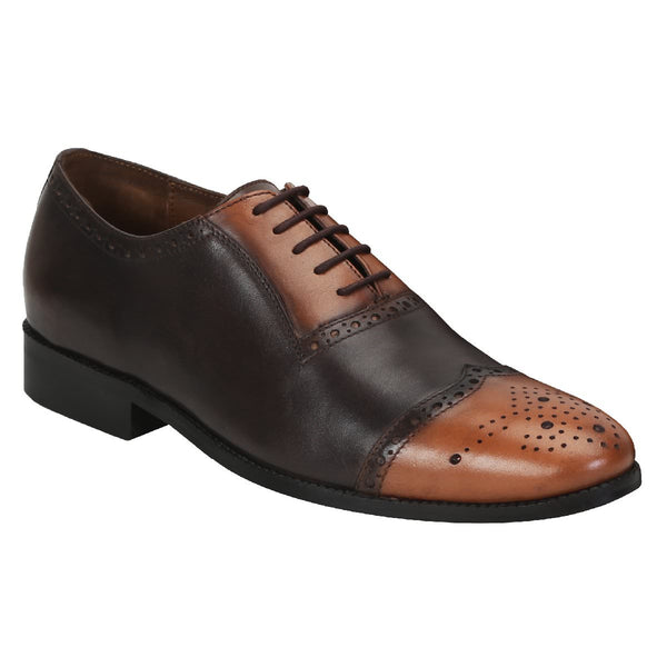 Brune Men Brown/Tan Dual Tone Leather Quarter Brogue Shoes