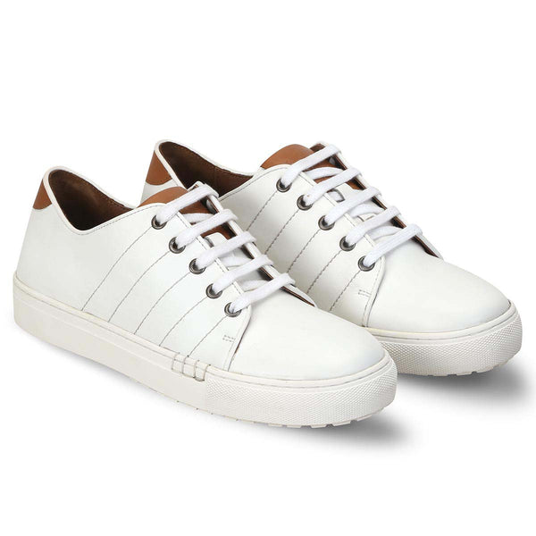 White With Tan Leather Detailing Men Sneakers By Bareskin