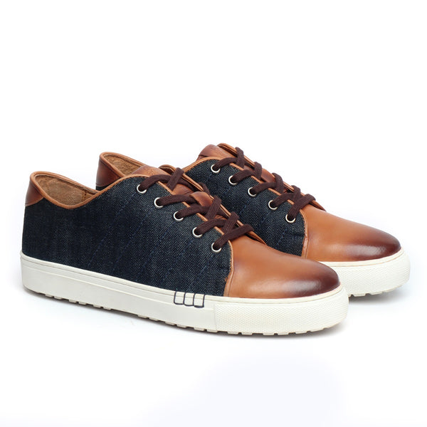 Tan Leather With Blue Denim Lace Up Casual Sneakers By Bareskin