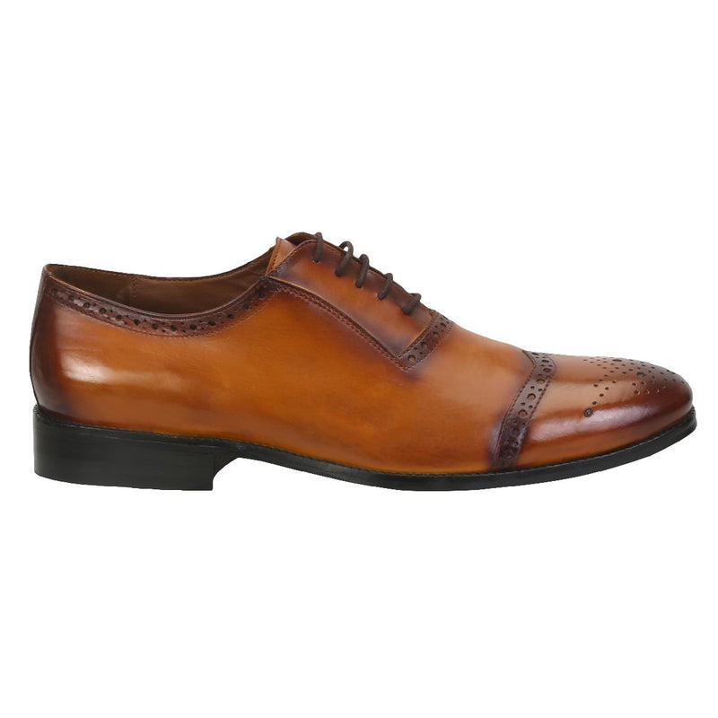 Tan Leather Minor Wingtip Oxford Brogue By Brune