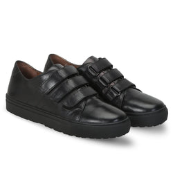 Black Leather Velcro Sneakers By Bareskin
