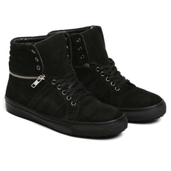 Black Suede Removable High Ankle Sneakers By Bareskin