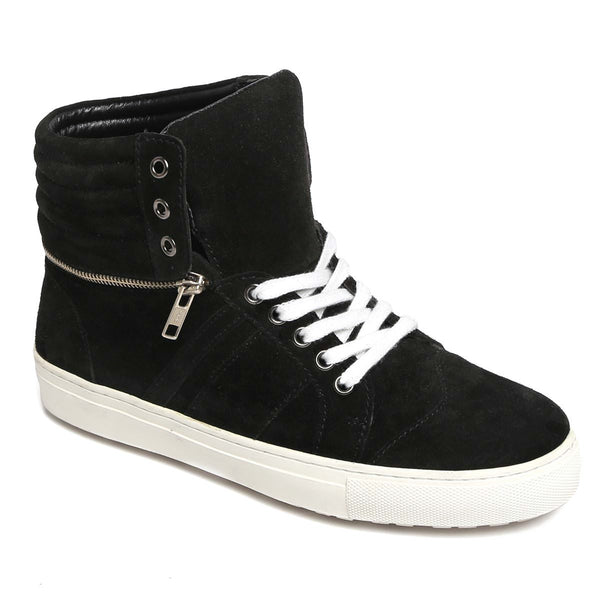 Black Suede Removable High Ankle Sneakers With White Sole & Laces By Bareskin