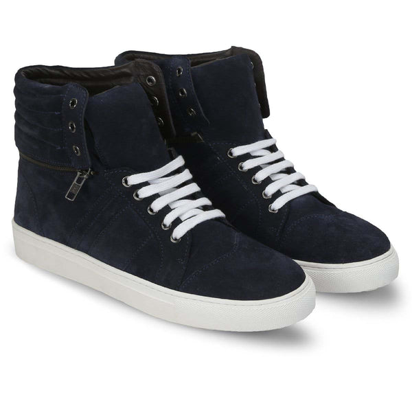 Navy Suede Removable High Ankle Sneakers By Bareskin