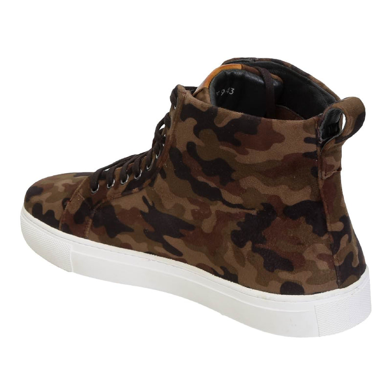 Camouflage Brown High Ankle Lace-Up Vevlet Sneakers By Bareskin