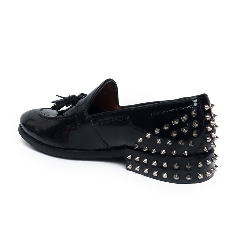 Black Patent Leather Studded Back Side Lacing Tassel Loafers By Brune