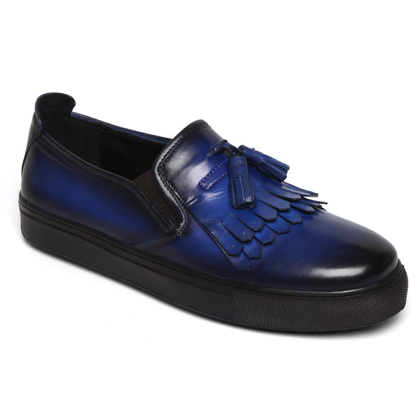 Tassel Fringes Navy Blue Leather Slip-On Men Sneakers By Bareskin