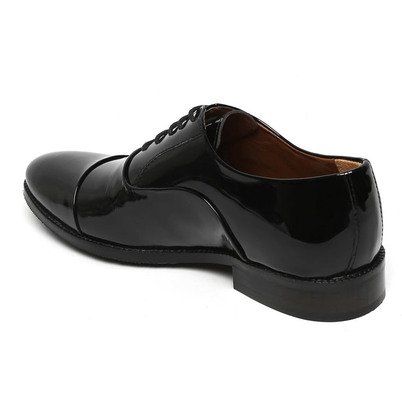 Black Patent Toe Cap Men Leather Oxford Shoe By Brune
