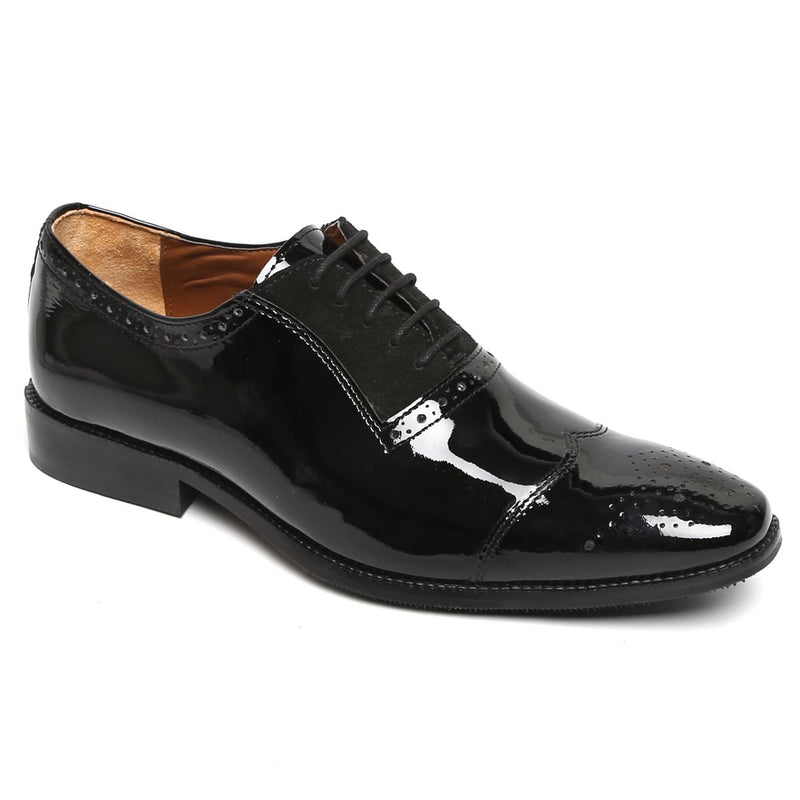 Black Suede-Patent Leather Oxford Shoe By Brune