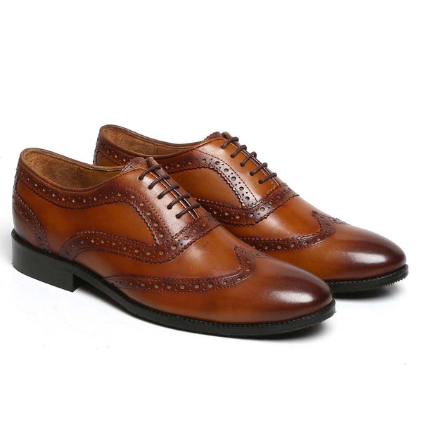Tan Genuine Leather Hand Crafted Full Brogue Formal Shoes By Brune