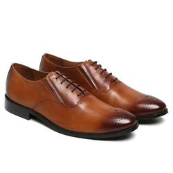 Tan Elastic Band Brogue Leather Shoe By Brune