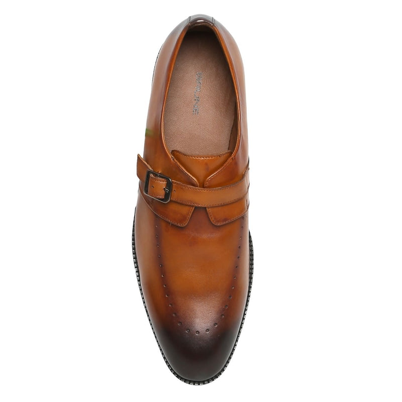 Tan Buckled Monk Strap Burnished Leather Shoe By Brune