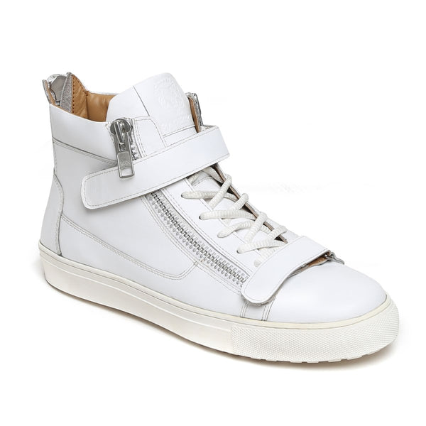 White Genuine Leather Sneakers By Bareskin