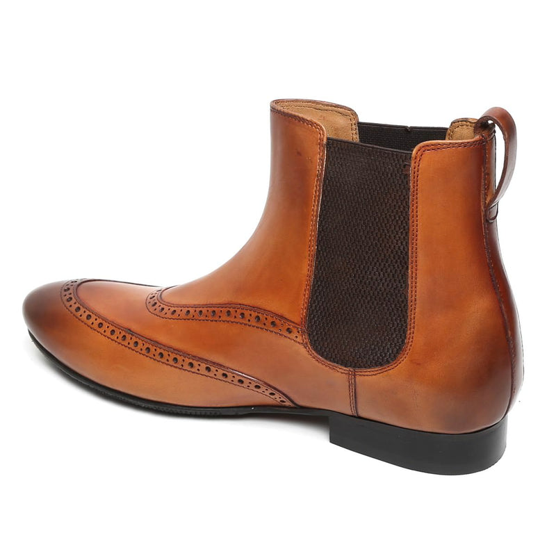 Tan High Ankle Brogue Leather Chelsea Boots By Brune
