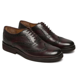 Wine Leather With Light Weight Sole Oxford Wingtip Full Brogue Formal Shoes By Brune