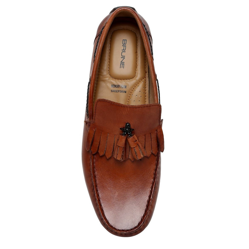 Tan Tassel-Fringes Leather Moccasins By Brune